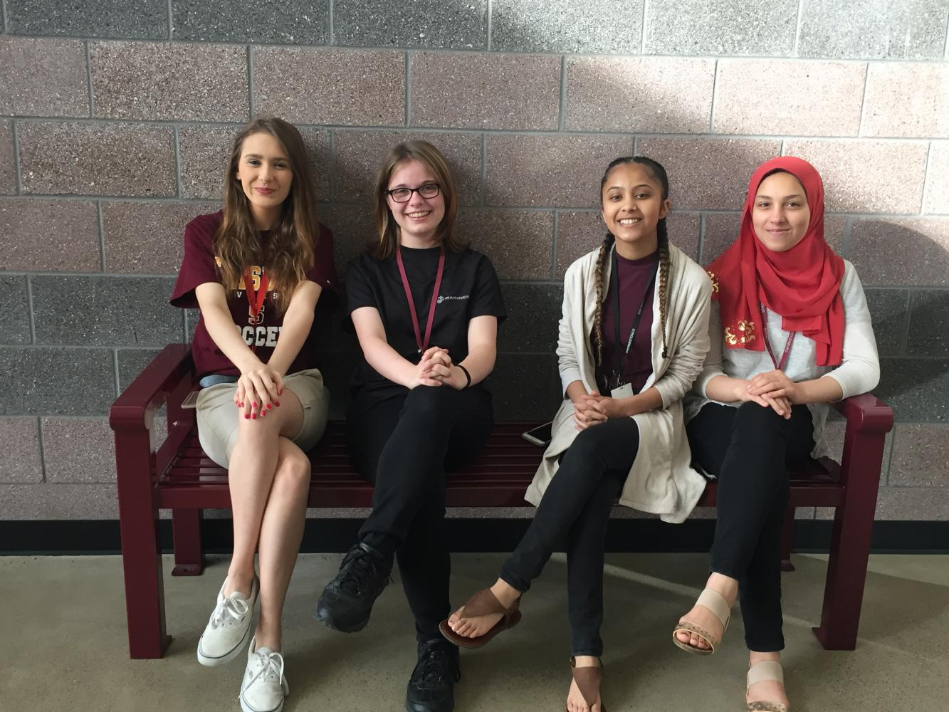 From left to right: Tiffany Growhowski, Jasmine Ippich, Daniella Wali, and Ellaa Abouelmagd. Missing is Jaynaba Kane and Kassandra Krase.