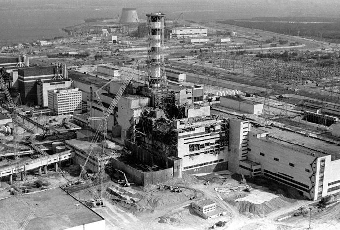 View of the Chernobyl nuclear power plant's fourth reactor.