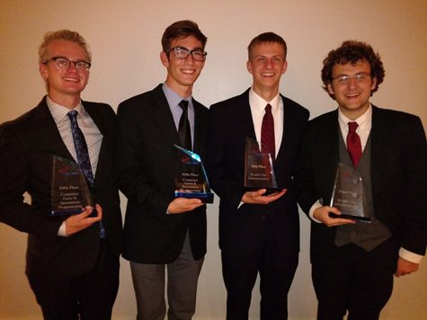 From left to right, recent graduates, Ben Burch, Mike Trezza, Eric Wolf and Liam Weiss from Stroudsburg High School received national recognition at the FBLA Awards of Excellence Program on July 2.