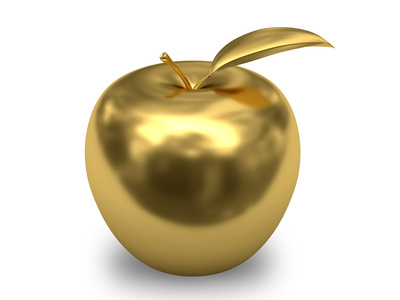 Golden apple on white background. High resolution 3D image.
