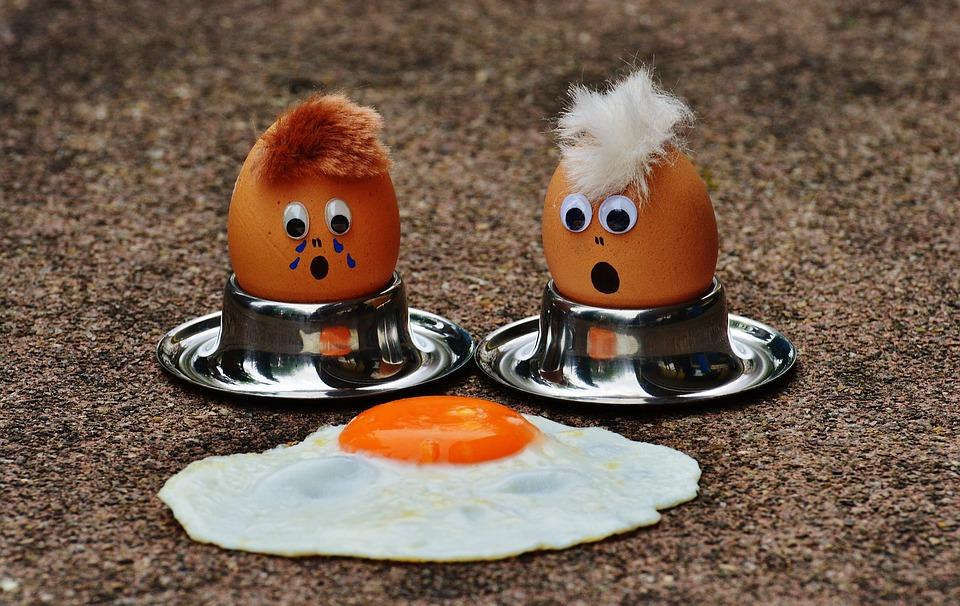 Fun Cute Mourning Food Funny Egg Yolk Fried