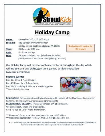 StroudKid's Holiday Camp flyer.