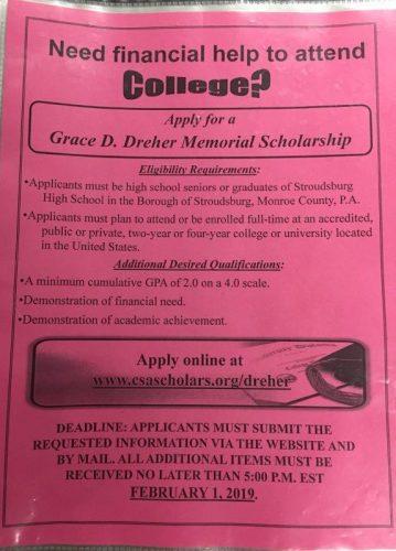 Grace D. Dreher Memorial Scholarship (Deadline: 2/1/19, no later than 5:00 p.m.)