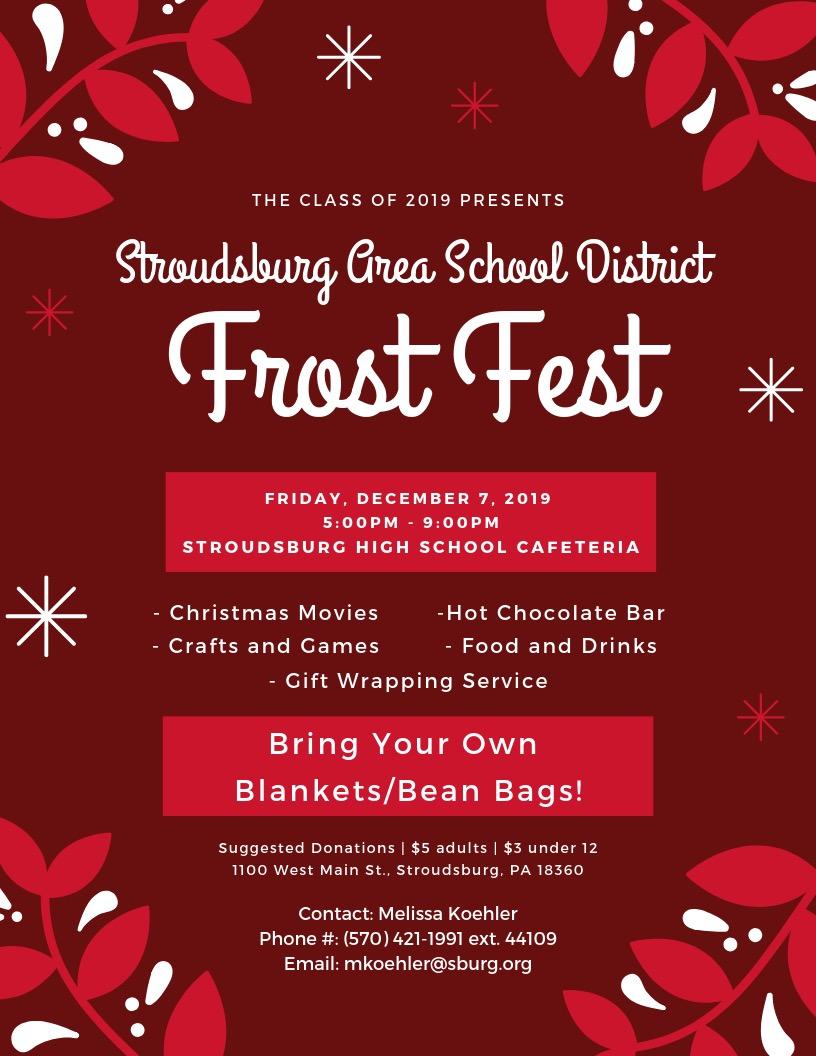 SASD Frost Fest- 12/7/18 (5:00 p.m.-9 p.m.)