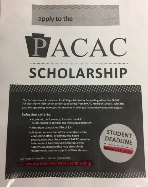 PACAC Scholarship (Deadline: 1/15/19)