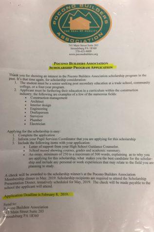 Pocono Builders Association Scholarship (Due Feb. 8, 2019)