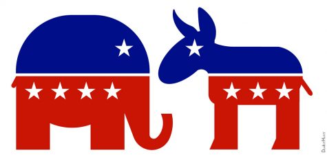 The animal symbols for the Republicans and Democrats.