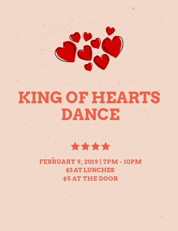 King of Hearts Dance: 2/9/19 (7 p.m.-10 p.m.)
