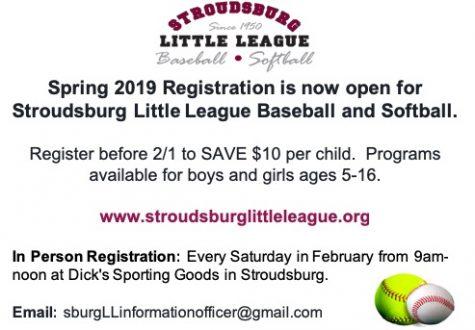 Stroudsburg Little League Baseball and Softball Registration