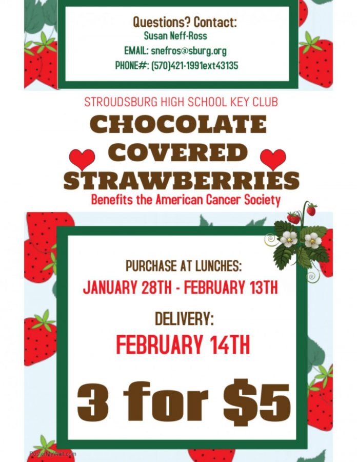 Key Club Chocolate Covered Strawberries: Jan.28 - Feb.13 (Purchase at Lunch)