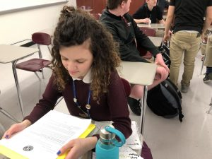 SHS junior Ivana Karataseva studies for an exam during school.
