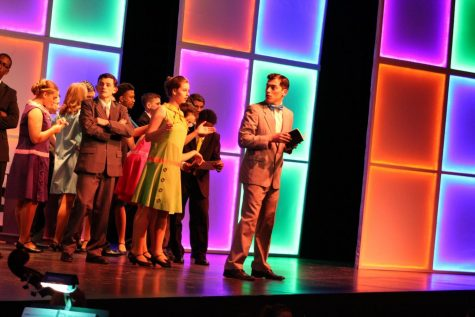 "Students performing in last years musical ""How To Succeed In Business Without Really Trying."""