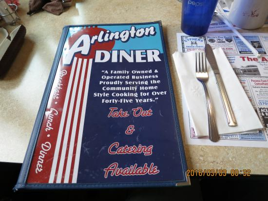 A brochure of the Arlington diner.