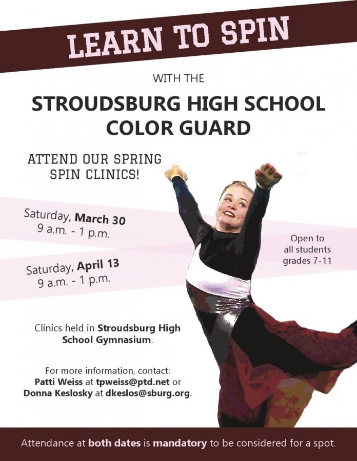 Color Guard Spring Spin Clinics: 3/30/19 & 4/13/19 (9 a.m.- 1 p.m)