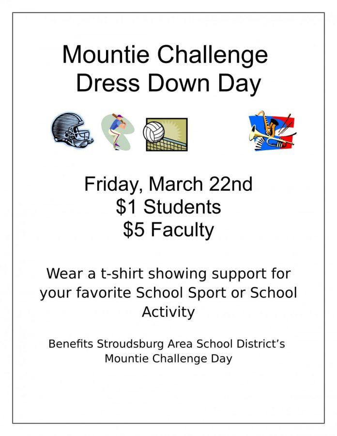 Mountie Challenge Dress Down Day: 3/22/19