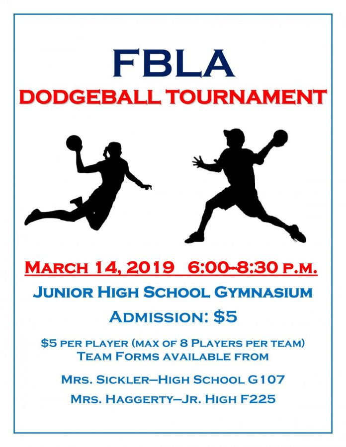 FBLA Dodgeball Tournament: 3/14/19 (6 p.m.- 8:30 p.m.)