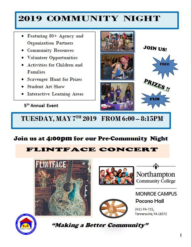 2019 Community Night: 5/7/19 (6:00 p.m.- 8:15 p.m.)