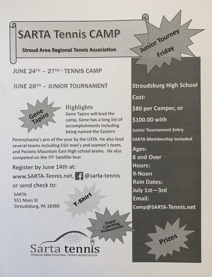 SARTA Tennis Camp: 6/24/19 and 6/28/19