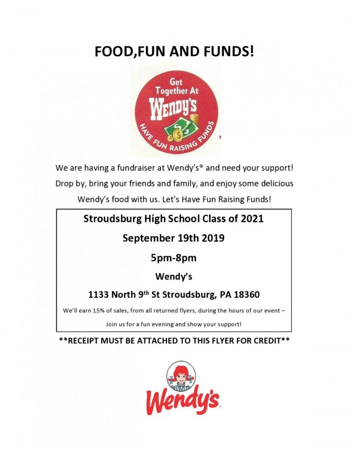 2021 Wendy's Fundraiser: 9/19/19 (5:00 pm- 8:00 pm)