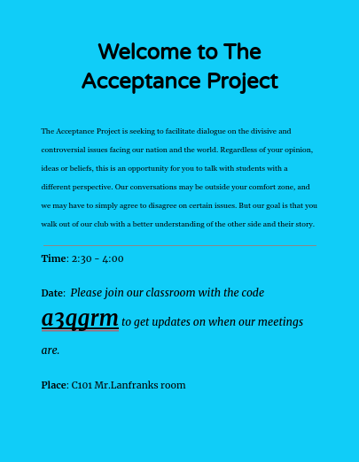 The Acceptance Project hosts first meeting this Thursday