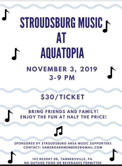 Stroudsburg Music at Aquatopia: 11/3/19 (3-9 p.m)