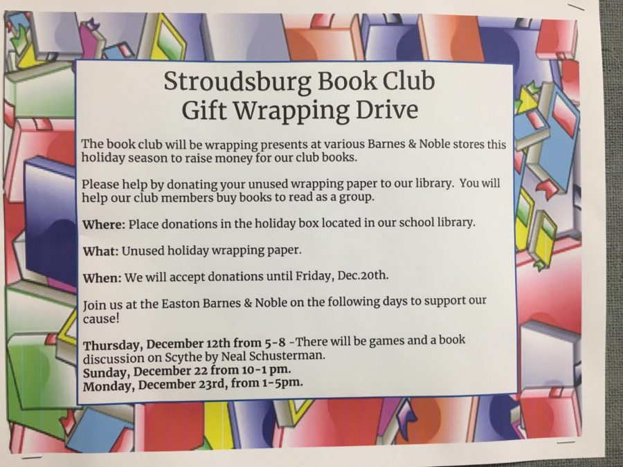 Stroudsburg Book Club gift wrapping drive
