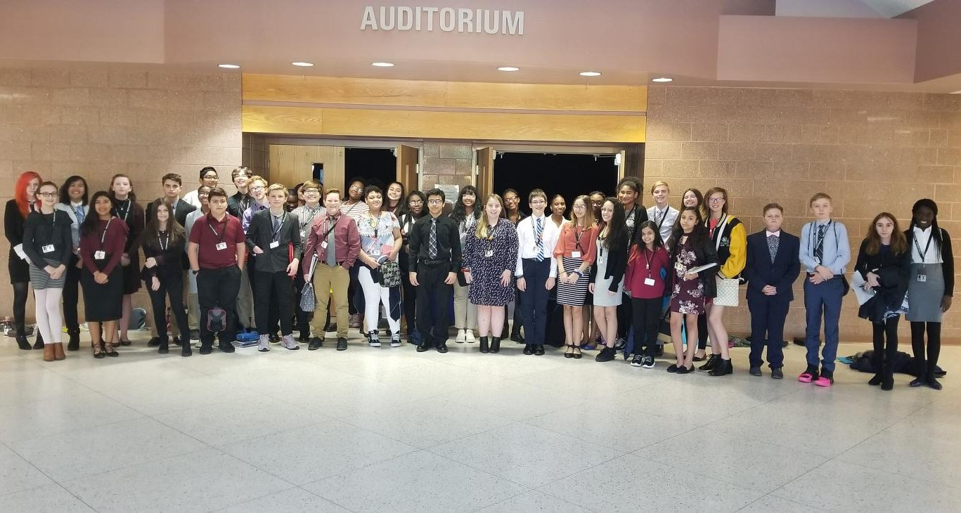 Photo taken by Model Congress. Students from the Junior High attend conference at the High School