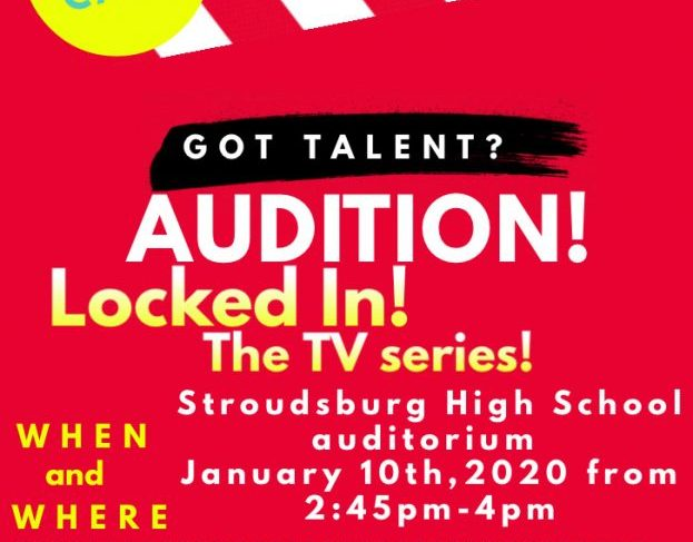 This is a flyer promoting the auditions for Locked In. However there is an error on the flyer, auditions will be held in Mrs. Batt's room.