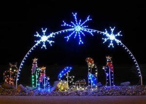 Many people put up  nativity Christmas lights during the holiday season.