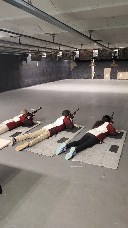 Shooters at Rifle team practice