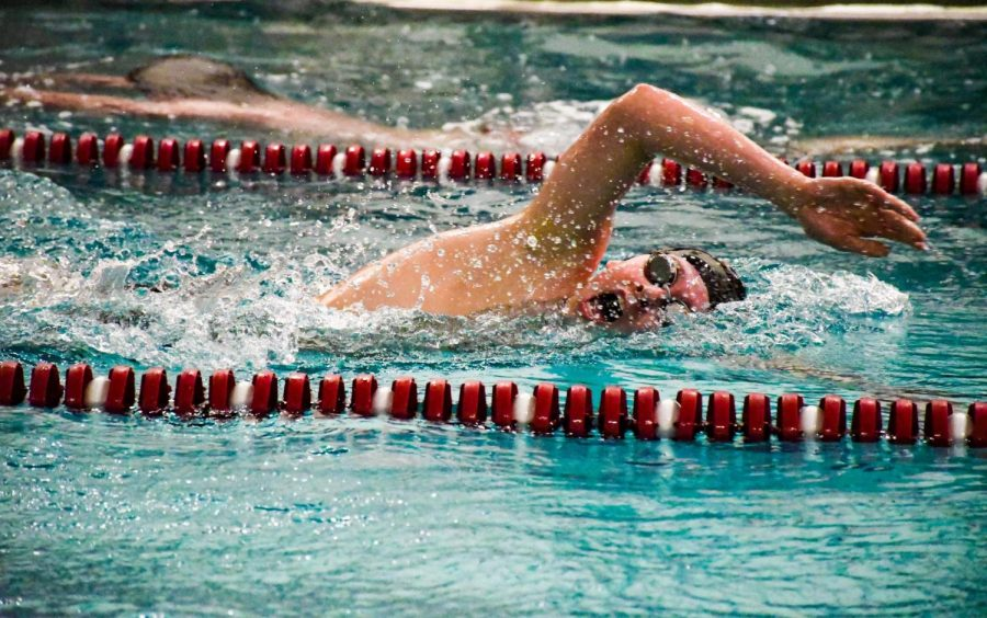 Stroudsburg swimmer at a meet.