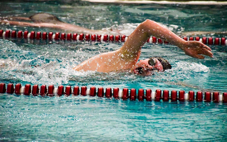 Stroudsburg swimmer at a meet.