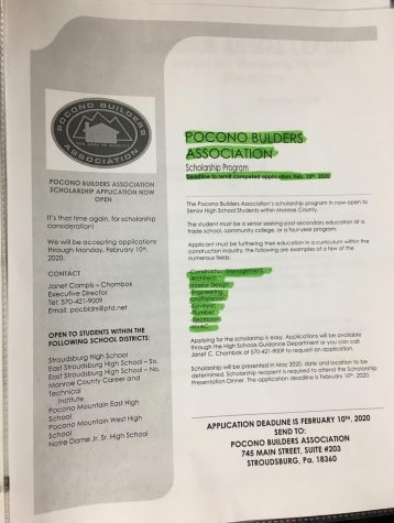 Pocono Builders Association scholarship