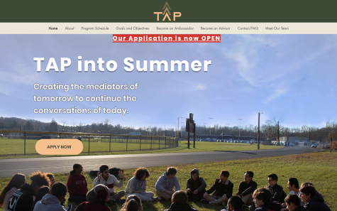 The Tap into summer website showing students gathered in discussion about political issues occurring in the world.