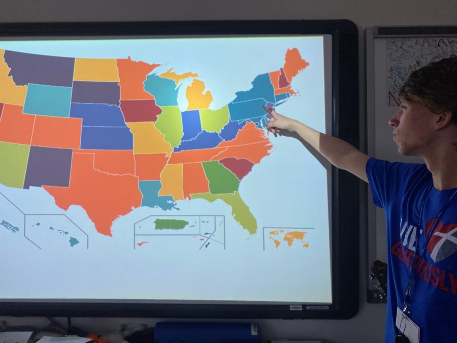 SHS Junior Justin Buynak points out certain states still up for grabs in the democratic primary such as Pennsylvania.