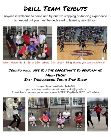 Flyer for Drill Team Tryouts.