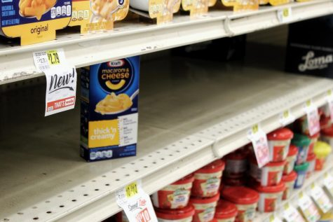 A lone box of Kraft Mac and Cheese sits on the shelves of the local Stroudsburg Weis.