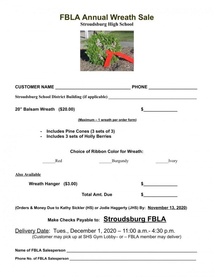 FBLA Annual Wreath Sale: 11/13/20