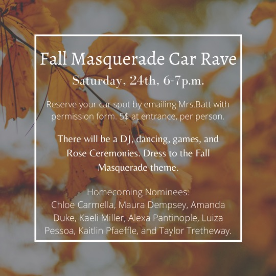Flyer for the Fall Masquerade Car Rave.