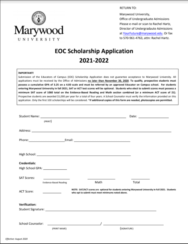 Marywood EOC scholarship (Due: 11-30-20)