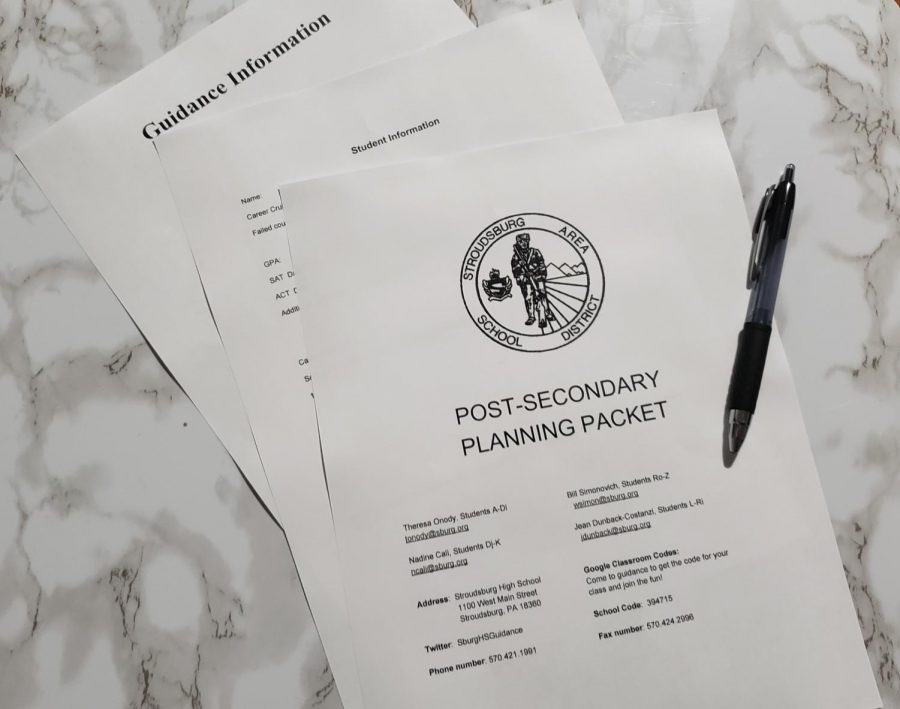 An image of the post-secondary planning packet sent out by counselors.