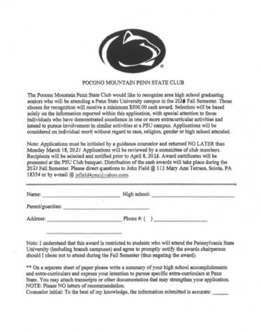Pocono Mountain Penn State Club scholarship (Due: 03-18-21)