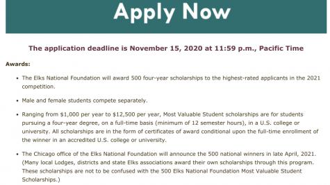 Elks scholarship (Due 11-15-20)