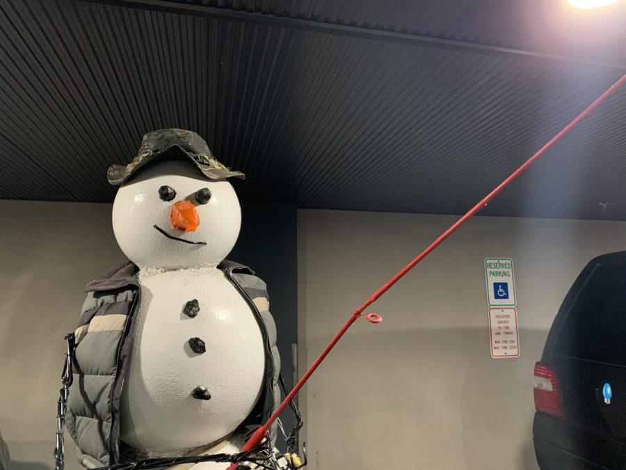 Snowman in the parking garage of the Penn Stroud.