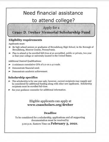 Grace D. Dreher Memorial Scholarship (Due: 02-03-21)