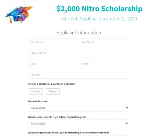 $2,000 Nitro Scholarship (Due: 12-31-20)