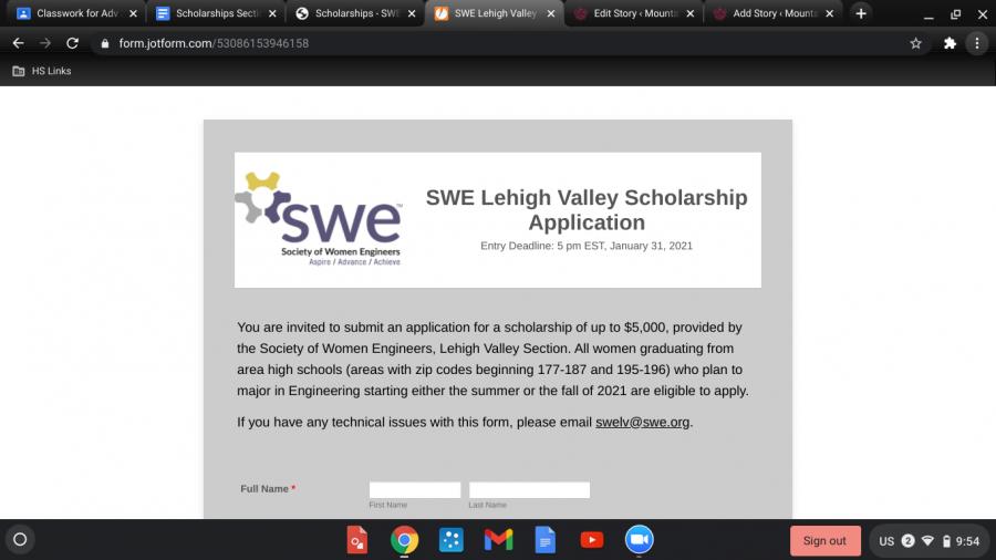 SWE-LV scholarship (Due 1-31-21)