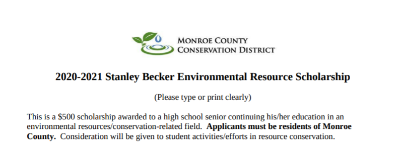 Stanley Becker Resource Scholarship (Due 4-2-21)