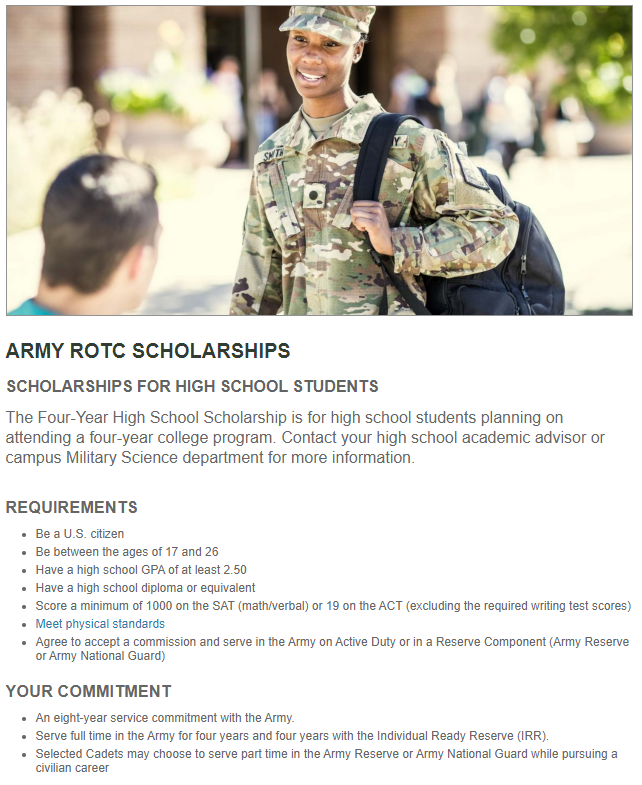 Army ROTC Scholarship (Due: 02-04-21)