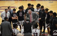 Coach Matt Gallagher speaks to the Stroudsburg boys basketball team during a timeout in a 2020 contest.